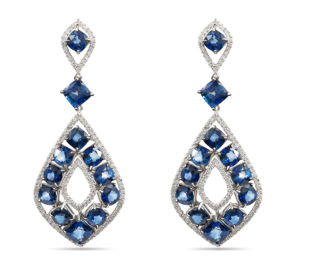 White Gold Cushion Sapphire and Round Diamond Dangle Earrings