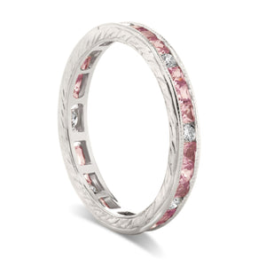Diamond and Pink Sapphire Channel Set Eternity Band