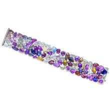 Load image into Gallery viewer, White Gold Multi Sapphire and Diamond Flexible Bracelet