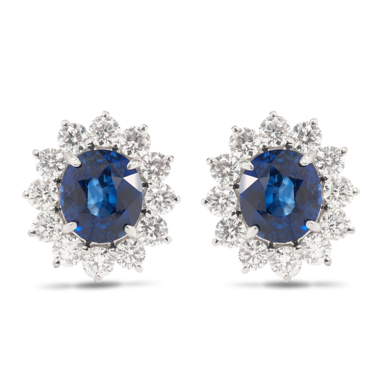 White Gold Oval Sapphire and Diamond Earrings