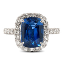 Load image into Gallery viewer, Cushion Cut Sapphire Ring with Diamond Halo