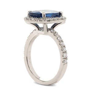 Cushion Cut Sapphire Ring with Diamond Halo