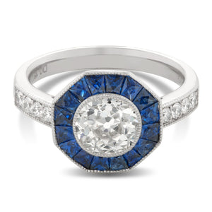 French Cut Sapphire and Old Mine Cut Diamond Ring