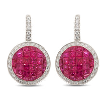 Load image into Gallery viewer, Ruby and Diamond Hanging Earrings