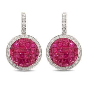 Ruby and Diamond Hanging Earrings