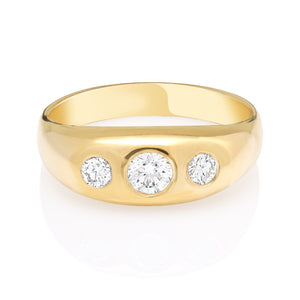 Diamond and Gold Gypsy Ring