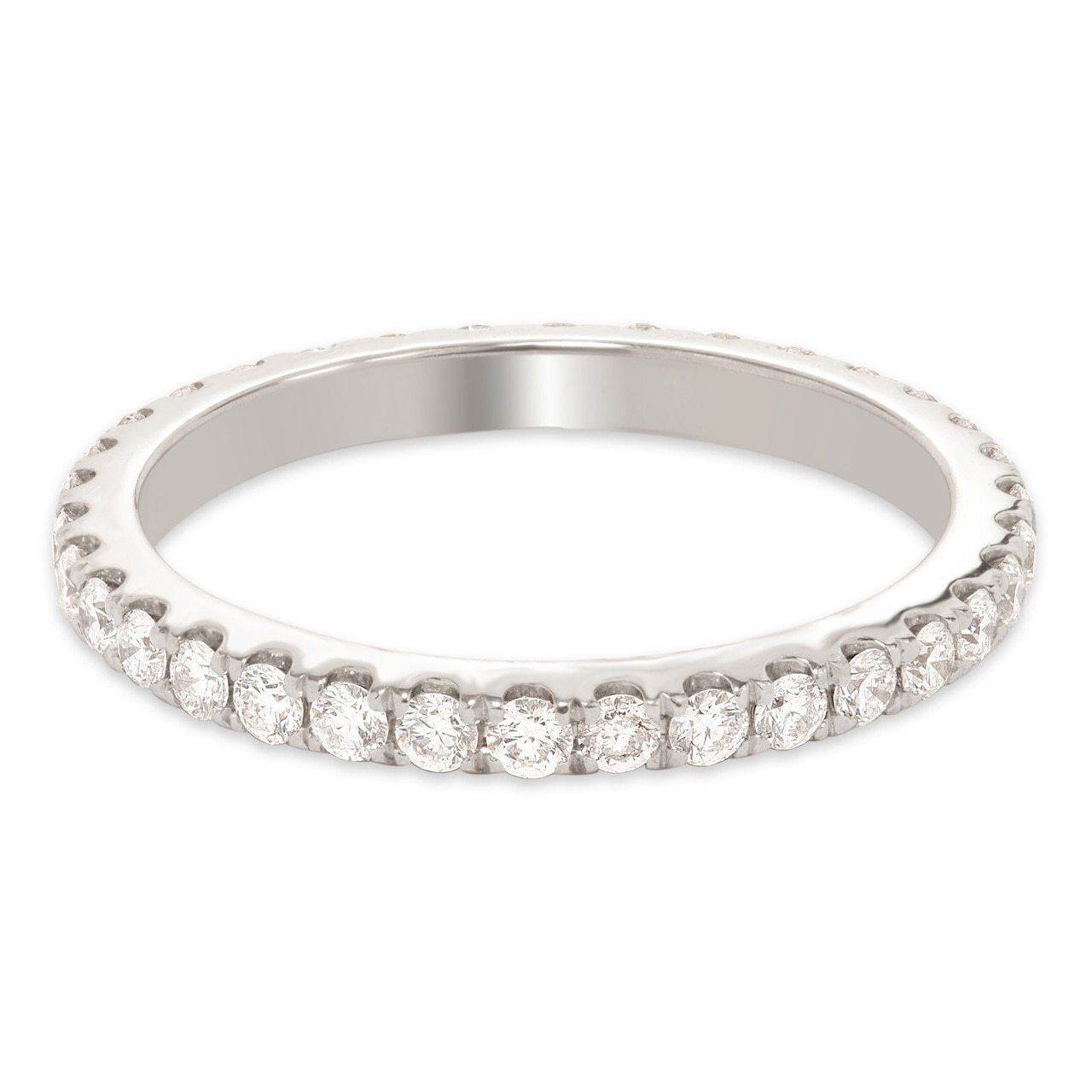 White Gold Shared Prong Round Diamond Eternity Band