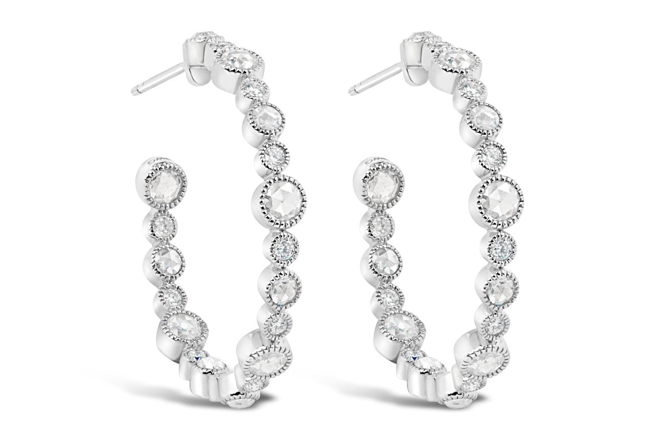 Rose Cut and Round Cut Diamond Hoops