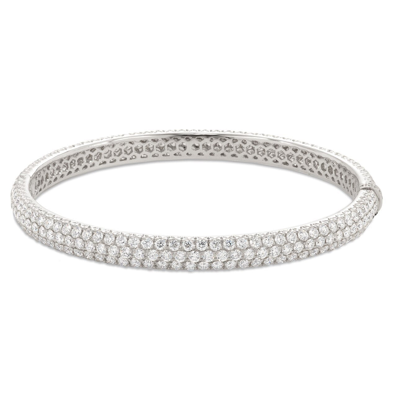 Three Row Pave Diamond Bangle