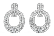 Load image into Gallery viewer, White Gold Small Diamond Door Knocker Earrings