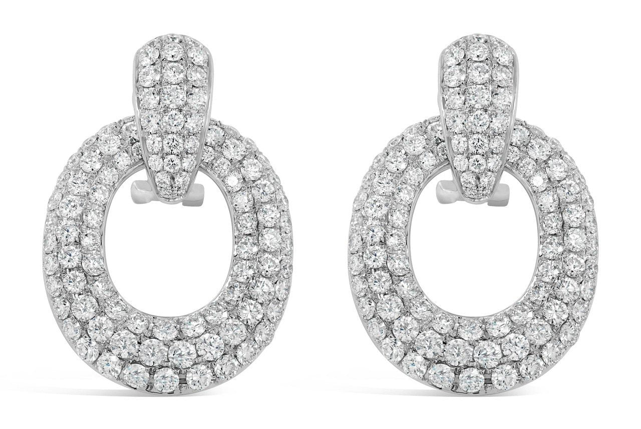 White Gold Small Diamond Door Knocker Earrings