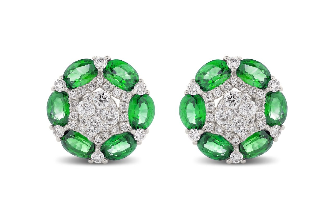 Oval Emerald and Round Diamond Earrings