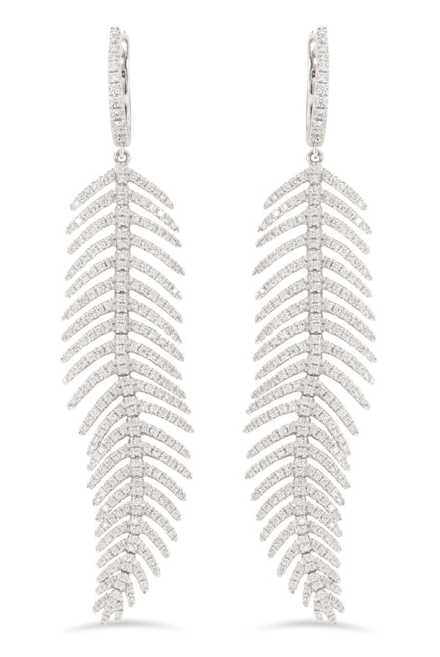 Medium Feather Diamond Earrings