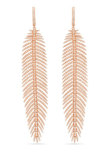 Large Feather Diamond Earrings