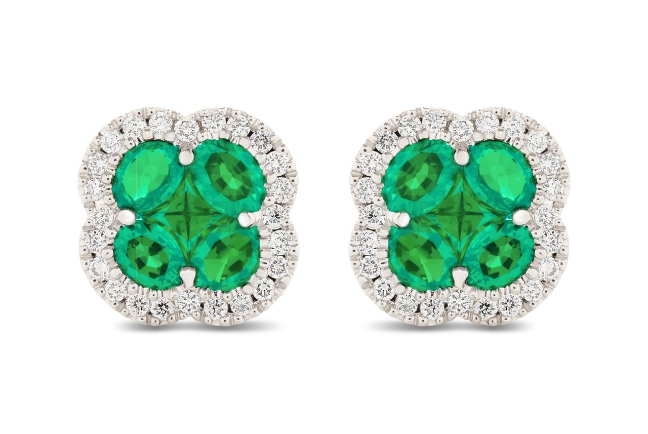 Emerald and Diamond Halo Earrings
