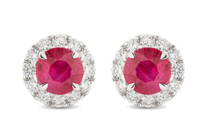 Round Ruby and Diamond Halo Stud Earrings