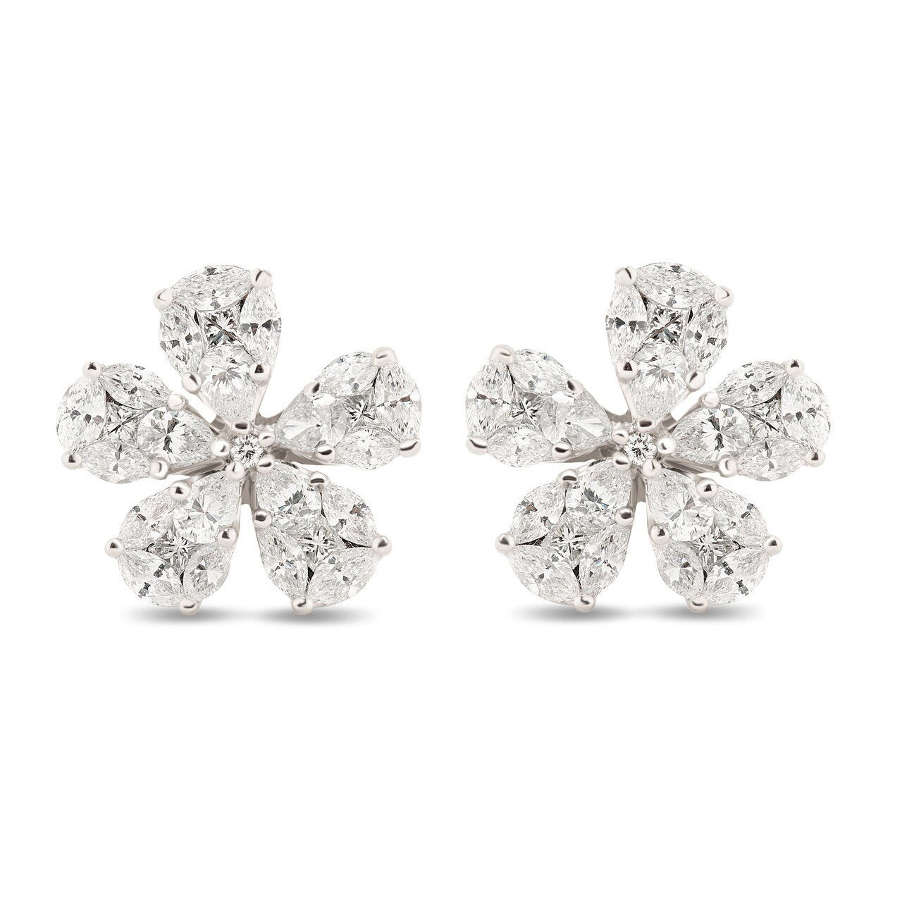 Diamond Flower Illusion Earrings