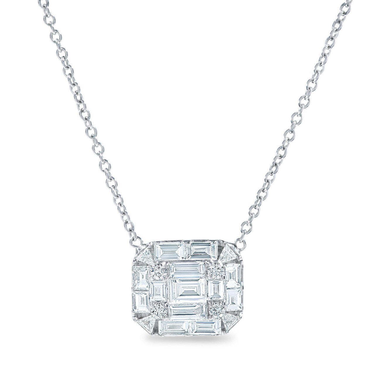 Round and Baguette Diamond Pendant