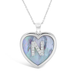 Large Mother of Pearl and Diamond Initial Heart Pendant