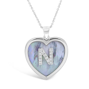 Large Mother of Pearl Diamond Heart Initial Pendant