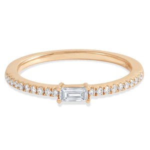 Rose Gold Round and Baguette Diamond Ring