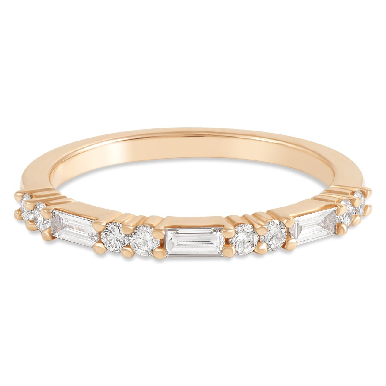 Rose Gold Round and Diamond Baguette Band