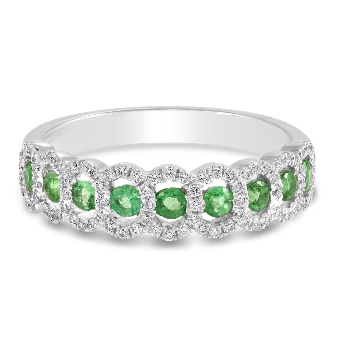 White Gold Oval Shape Halo With Round Emeralds