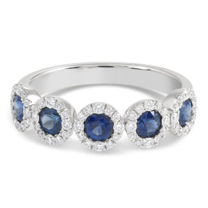 White Gold Diamond Halo and Round Sapphire Band