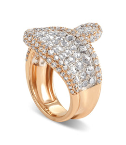 Rose Gold Rose Cut and Round Cut Diamond Ring