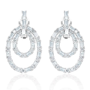 Baguette and Round Diamond Dangle Earrings