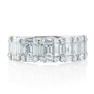 18K White Gold Round and Baguette Diamond Half Way Band