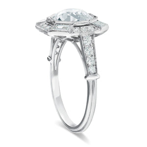 Platinum Old Mine Cut Diamond Ring