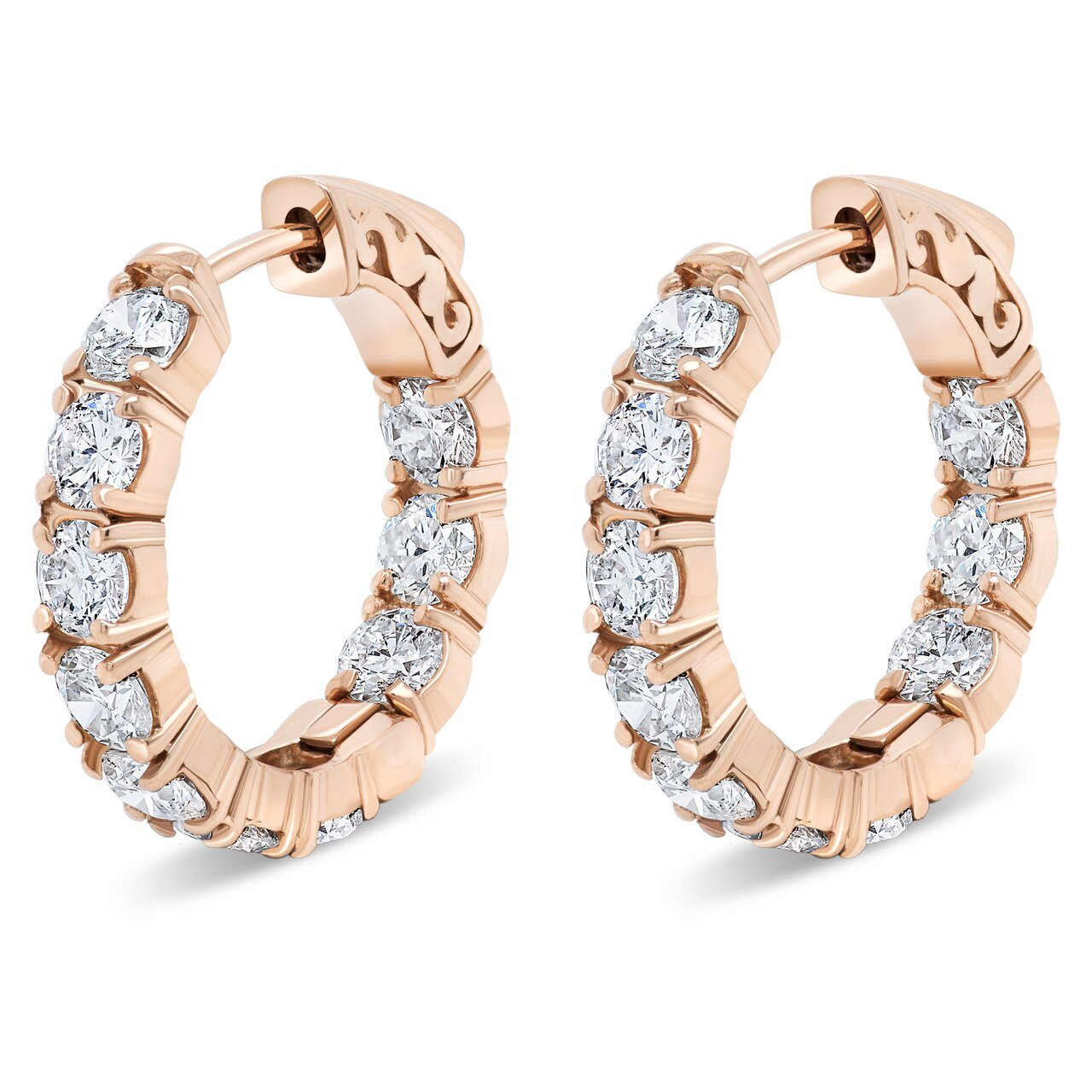 Rose Gold and Diamond Hoops