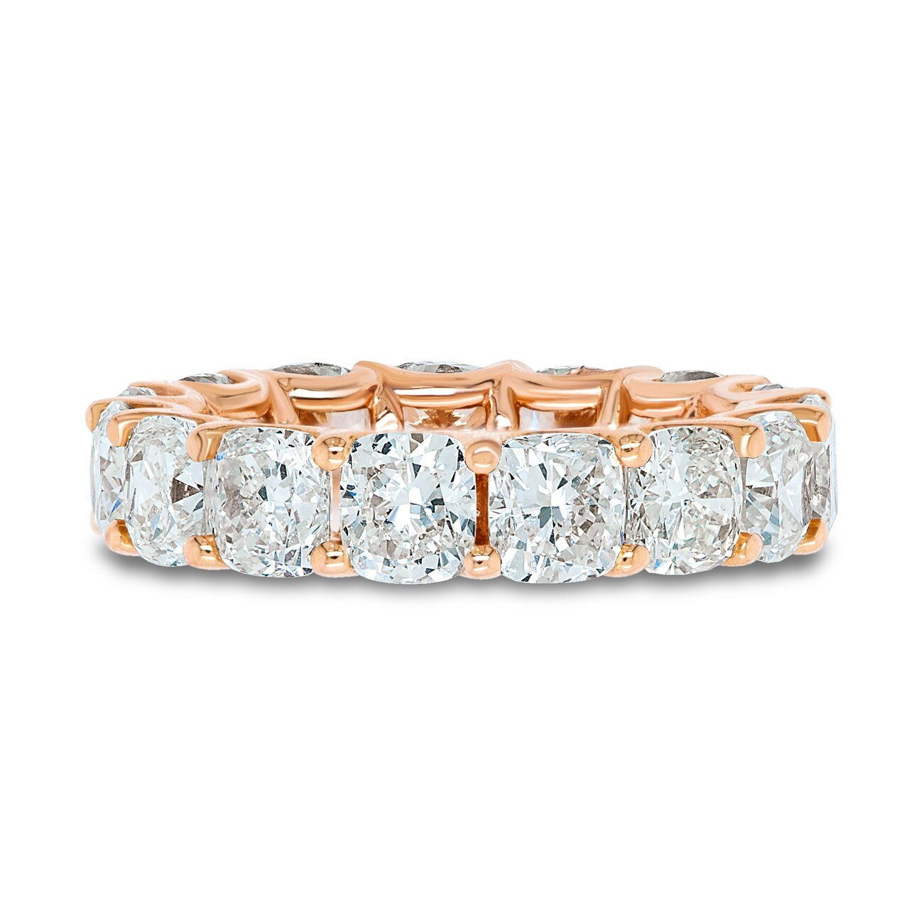 Rose Gold Cushion Cut Eternity Band