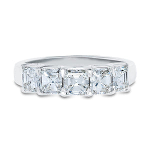5 Stone Asscher Cut Diamond Band