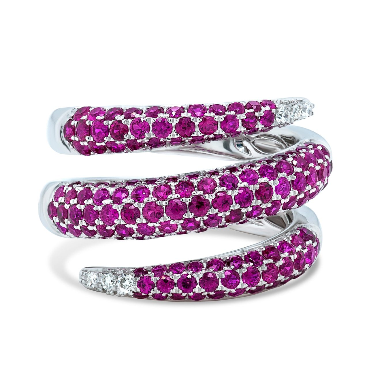 White Gold Ruby Snake Wrap Ring