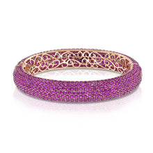 Load image into Gallery viewer, Yellow Gold Pink Sapphire Bangle