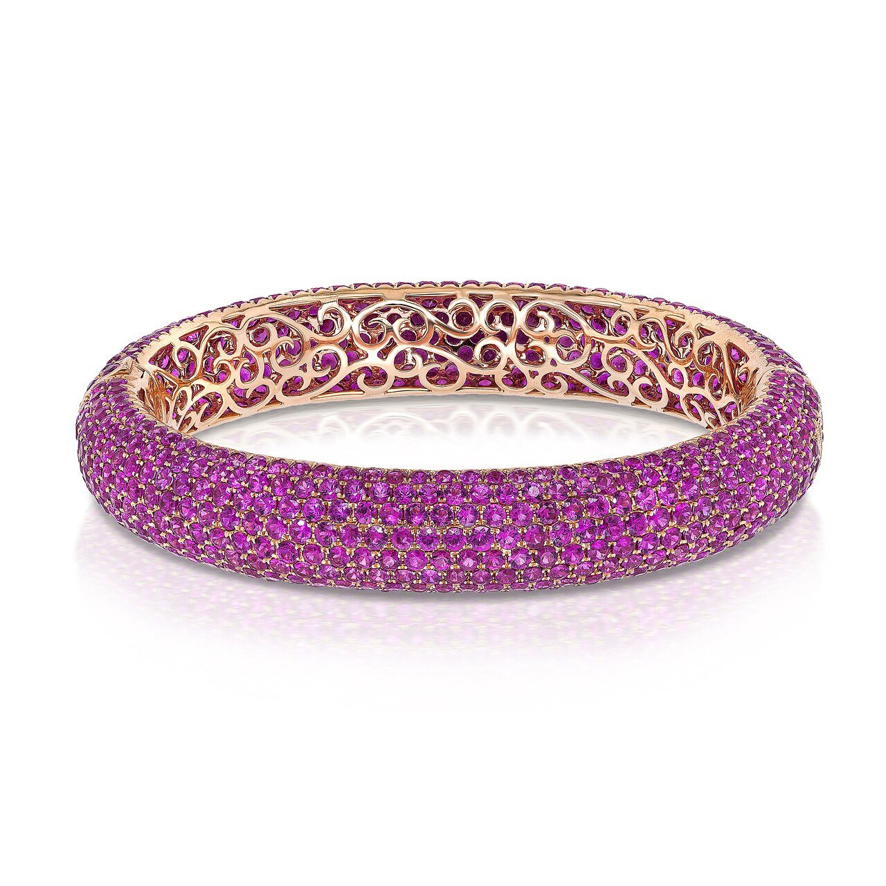Yellow Gold Pink Sapphire Bangle