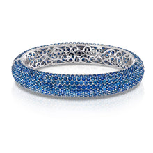 Load image into Gallery viewer, White Gold Sapphire Bangle