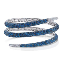 Load image into Gallery viewer, Sapphire and Diamond Snake Cuff Bracelet