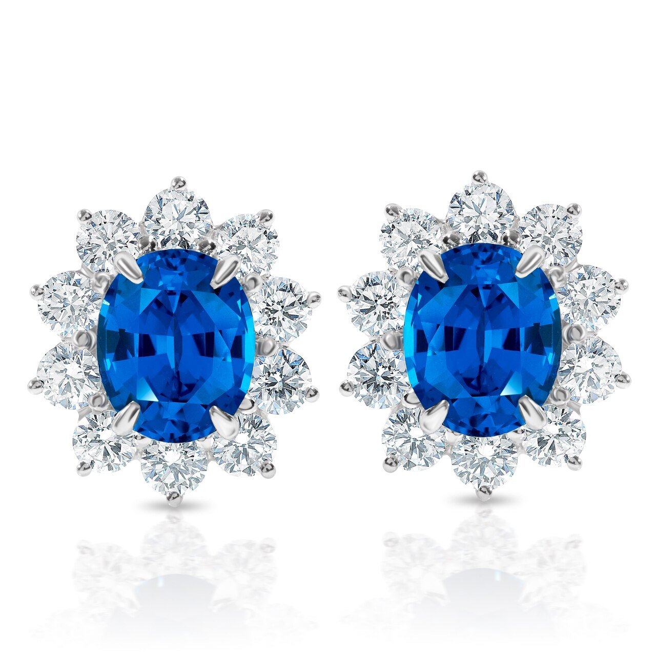 Oval Sapphire and Diamond Earrings