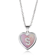 Load image into Gallery viewer, Small Mother of Pearl Diamond Initial Heart Pendant