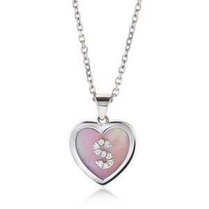 Small Mother of Pearl Diamond Initial Heart Pendant