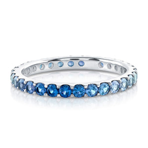 White Gold Blue Sapphire Ombre Eternity Ring