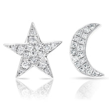 Load image into Gallery viewer, Diamond Moon and Star Earrings