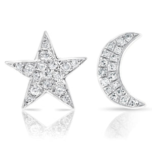 Diamond Moon and Star Earrings