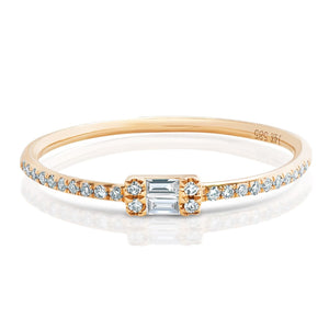 14k Gold Round and Diamond Baguette Ring