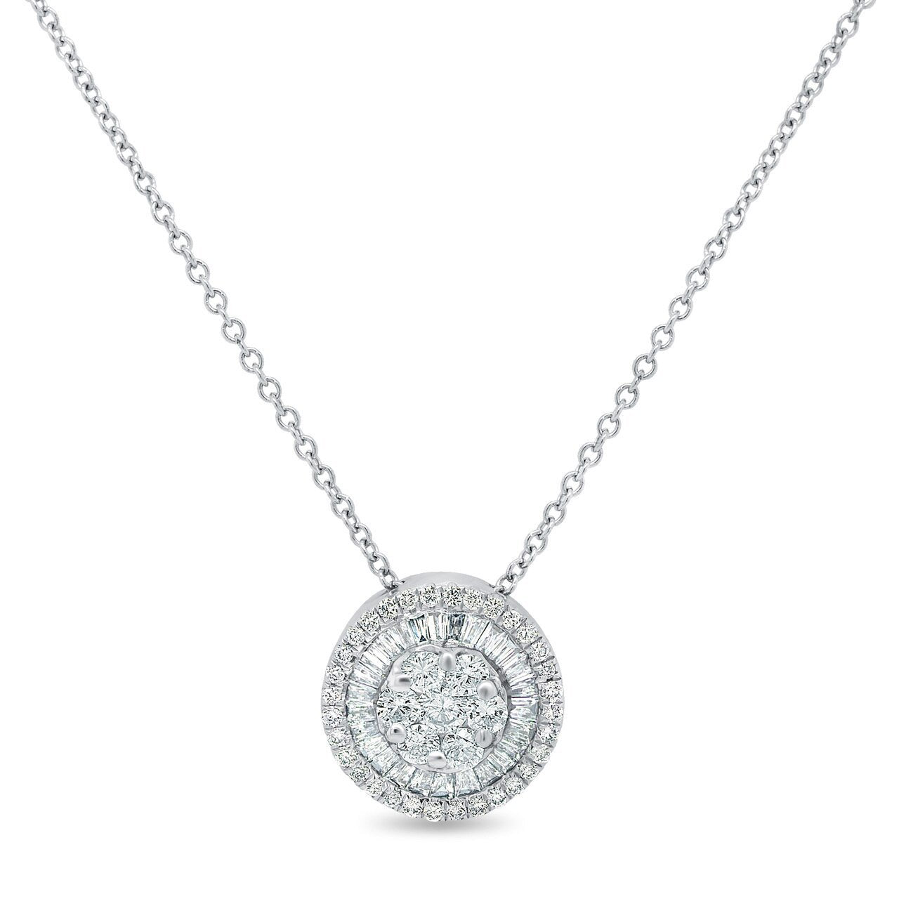 14K White Gold Round and Baguette Diamond Pendant