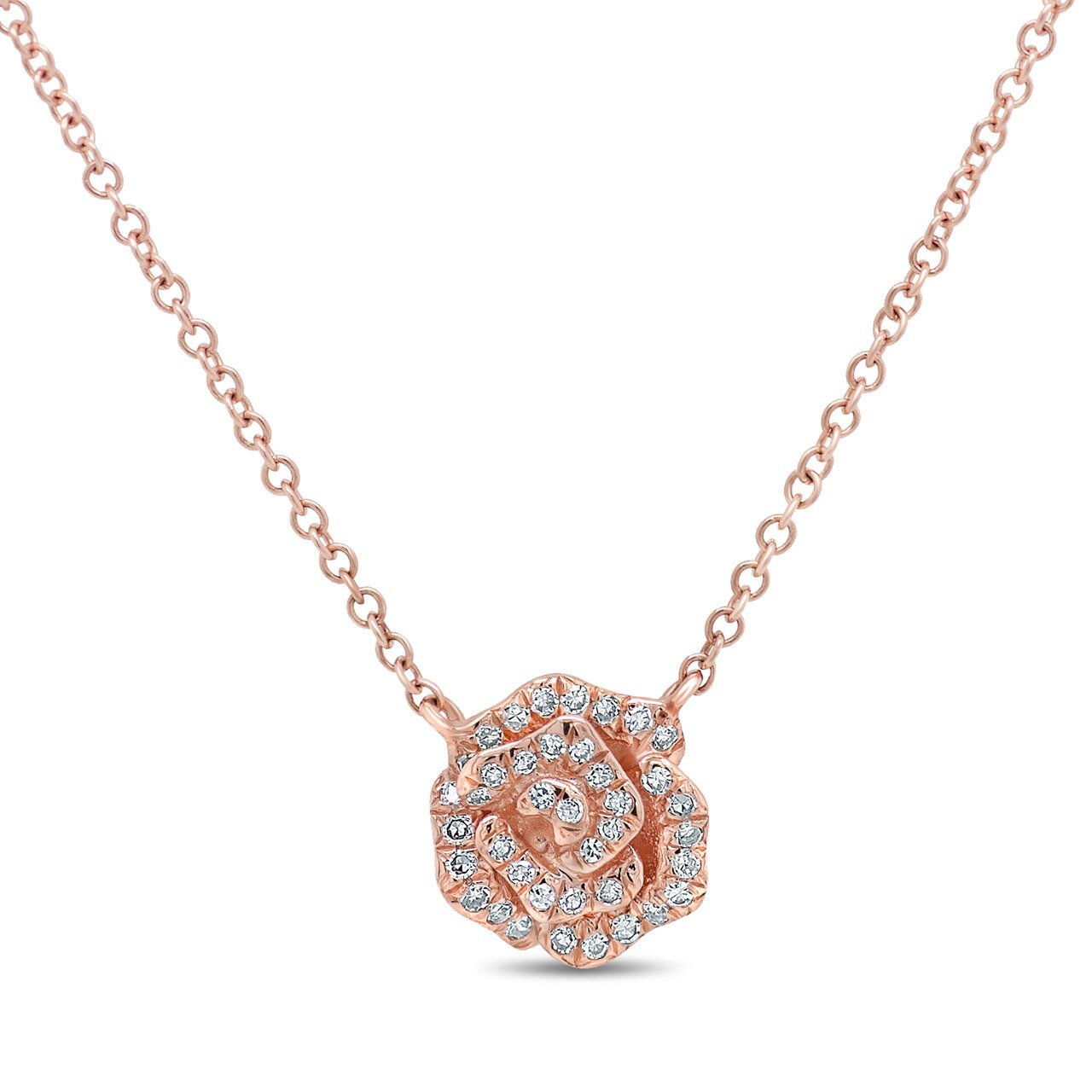 14K Rose Gold Rose Pendant
