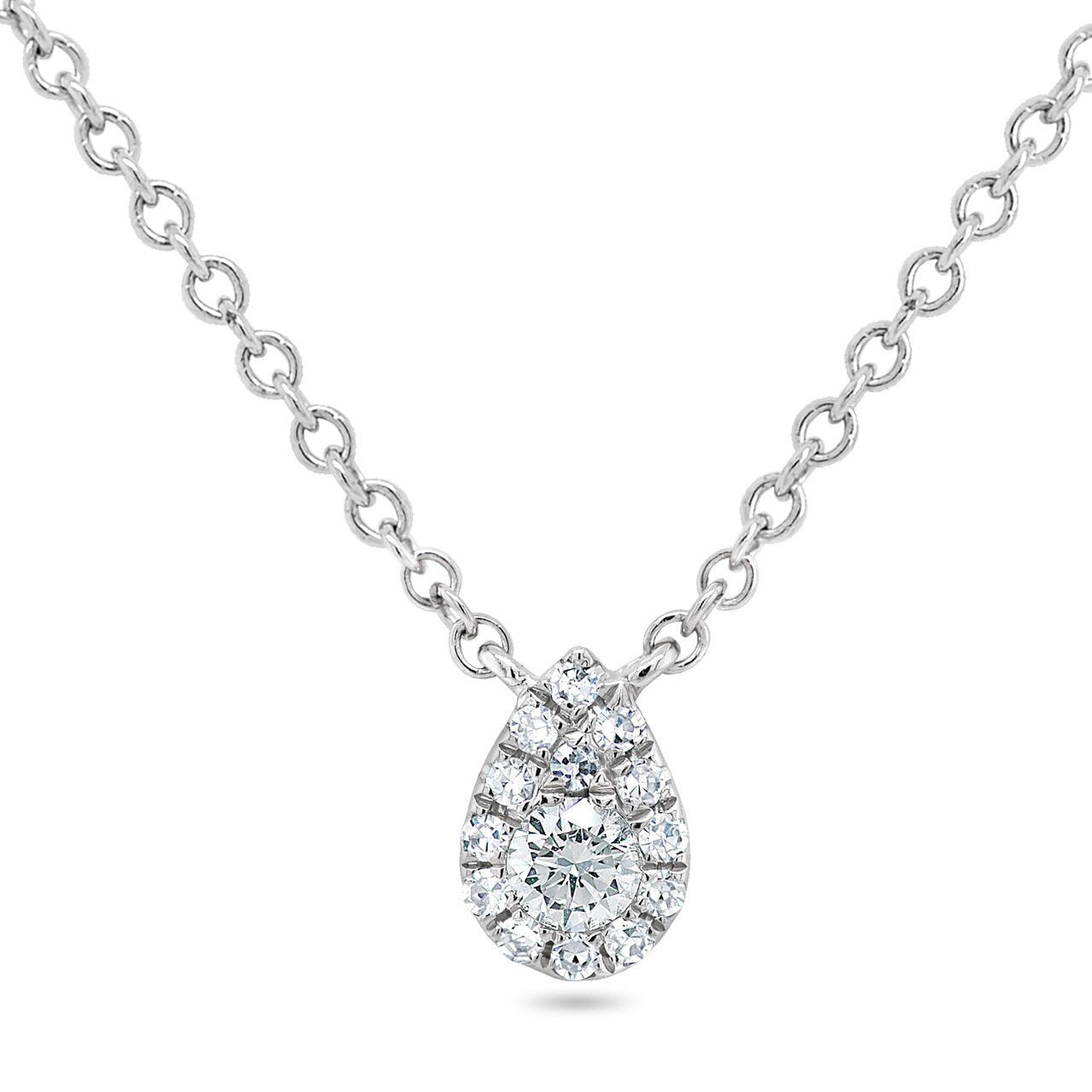 Pave Diamond Tear Drop Pendant